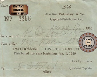 Bootlegger Dock Receipt Printable 1920s Ohio River Smuggler Prohibition Era Roaring 20s Style Art Deco Gatsby Party Wedding Bar Front Door