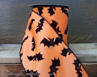 "Halloween Wired Ribbon, 4""  Flocked, Glittered Black Bats on Orange - SIX & 3/4 YARDS - d. stevens ""Bats"" #806644 Wire Edged Ribbon"