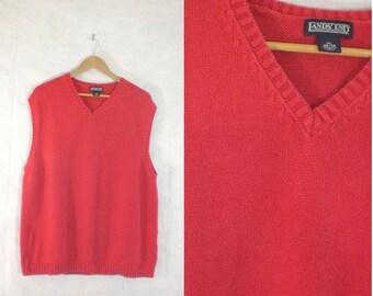 mens sweater vest size xl, red v-neck cotton vest, 1980s sweater vest 80s sweater vest, minimalist mens knit vest lands end