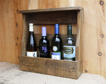 Rustic wine rack/ 4 bottle holder with shelf - pallet wood wine storage- 3 Finishes - Medium Oak / Dark Oak / Natural.