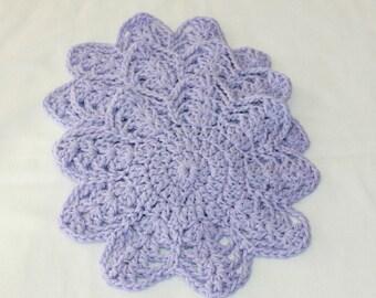 Multi-Use Crocheted Dishcloth Set - Cotton Dishcloth Set - Doily - Set of 3 - Lavender