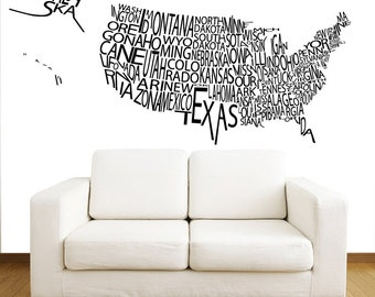 Wall decals map of the world continents countries vinyl decal united states us map wall decals country words wall vinyl decal interior home decor wall decal office art vinyl sticker decal v1080 gumiabroncs Image collections