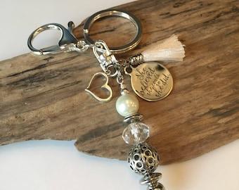 Keychain, Beaded keychain, boho crystal white, tassel keychain, Inspirational Keychain, Gift Keychain, Fun