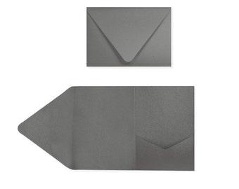 A7 Pocketfold Invitations (5 x 7) - Smoke (10 Qty.)