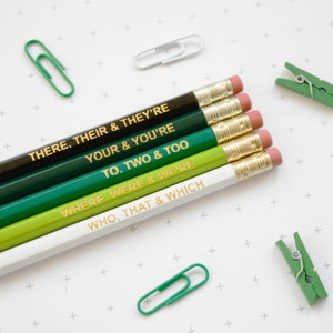GREEN GRAMMAR PENCILS Stocking Stuffer Ombre Coloured Pencil Set Gift for School English Teacher Graduation Present Colourful Retro Hex Gold