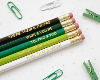 GREEN GRAMMAR PENCILS Stocking Stuffer Ombre Coloured Pencil Set Gift for School English Teacher Graduation Present Colourful Retro Hex Gold