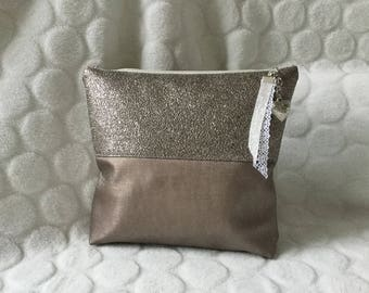 Makeup pink gold faux leather