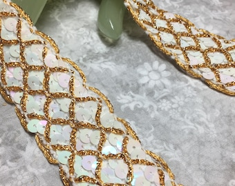 """Vintage White Sequence and Gold Cording 1"""" Wide Fabric Lace Trim - Price Per 5 Yards"""