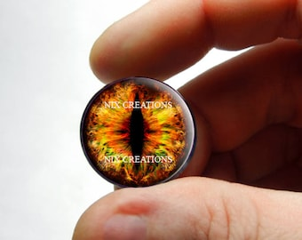 Glass Eyes - Eye of Sauron Dragon Glass Eyes Glass Taxidermy Doll Eyes Cabochons  - Pair or Single - You Choose Size