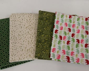 100% Cotton Fat Quarters pack of 4