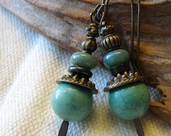 green turquoise stacked dangle earrings