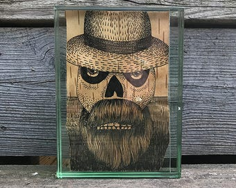 Friends and Neighbors 4. Ink on birchbark. 4x6, framed.