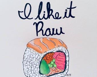 I like it raw (sushi) - card + envelope