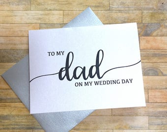 to my dad on my wedding day - card for daddy - wedding day card for father - daddys little girl - thank you mom and dad  - BLACK TIE