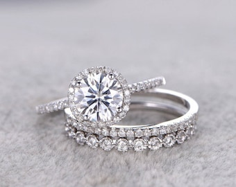 3pc brilliant Moissanite Engagement ring set,14k White gold,7mm Cushion,Diamond wedding band,Promise Bridal Ring,Halo,Anniversary,bezel set
