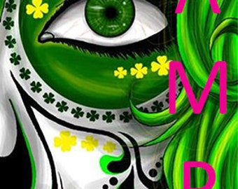 Sugar Skull bookmark - Green - gift