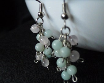 Jade and Rose Quartz Cluster Dangle Earrings-Lucy