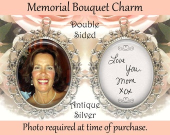 SALE! Double-Sided Handwriting Wedding Memorial Bouquet Charm - Personalized with Photo and your loved ones handwriting - Gift for the Bride