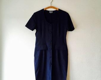 1980s midnight blue button down secretary dress.// size medium