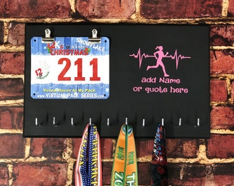 Heartbeat of a Runner, Girl , Running Medal Bib Holder,Medal Holder, Medal Rack, Medal Display, Race Bib Display, Race Bib Holder