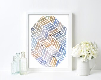 blue shades, minimalist watercolour, contemporary art, wall decor, contemporary watercolour, minimalist art, 5x7 original watercolour