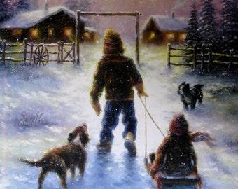 Boy Girl Sledding Art Print snow cabin children sledding brother and sister, dogs snow paintings western wall art nostalgic, Vickie Wade art