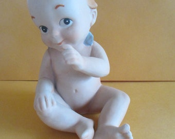 Vintage Enesco 1991 large Kewpie baby angel bisque porcelain figurine  Enesco used good condition