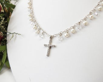 Crystal Cross Necklace, Freshwater Pearls And Swarovski Crystals In Sterling Silver, Cross Necklace, June Birthstone, 15.75-18 Inches Length