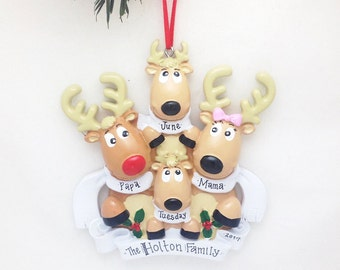 Four Reindeer Family Personalized Christmas Ornament / Family of 4 Reindeer / Reindeer Ornament / We Add Names and Message