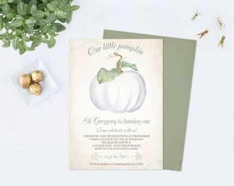 WHITE PUMPKIN INVITATION Template, Our Little Pumpkin, Pumpkin Birthday, First Birthday Editable Fall Birthday, Halloween Party, diy Invite