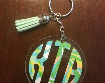 Circle Monogram Keychain with Tassel-lilly pulitzer inspired prints