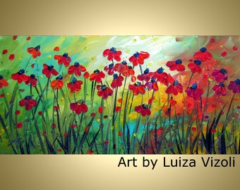 Large Original Painting Flowers Abstract Red Daisy HUGE Canvas Art by Luiza Vizoli 72x36