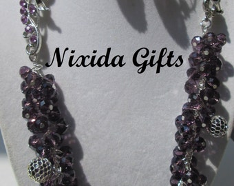 Purple Crystal Flower Necklace Set