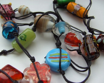 Bohemian, hippie, gypsy, Indian glass, knotted necklace, long necklace, by NewellsJewels on etsy