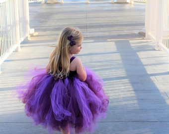 Flower girl dress - Tulle flower girl dress -Plum Dress - Tulle dress-Infant/Toddler - Pageant dress - Princess dress - Plum flower drnkess