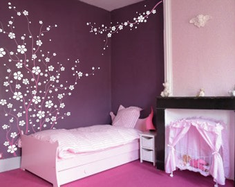 Large Wall Tree Nursery Decal Japanese Magnolia Cherry Blossom Flowers Branch 1121 (6 feet tall)