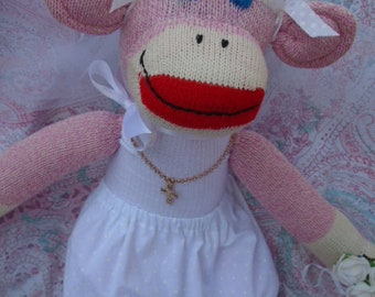 First Communion/Flower Girl Pink Classic Red Heel Sock Monkey Doll