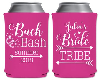 Neoprene Coolers Personalized Bachelorette Party Favors Custom Beverage Insulators | Bride Tribe (1AB) Bach Bash | Arrows | READ DESCRIPTION