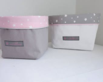 Pink starry night Collection set of 2 baskets