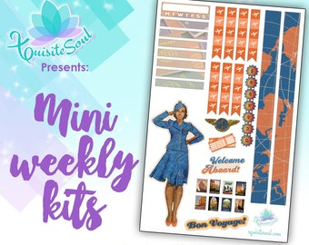 Vintage Travel African American Mini Weekly Planner Sticker Kit all planners such as for Erin Condren, HP/ Travelers Notebook Sticker Kit