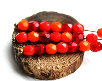 Red Orange 4mm beads mix, czech glass Fire polished, round faceted spacers - 4mm - 45Pc - 0935