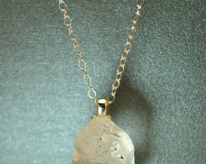 "Necklace of Tibetan "" Diamond"" Quartz crystal on Sterling Silver chain  simple, boho, minimalist"