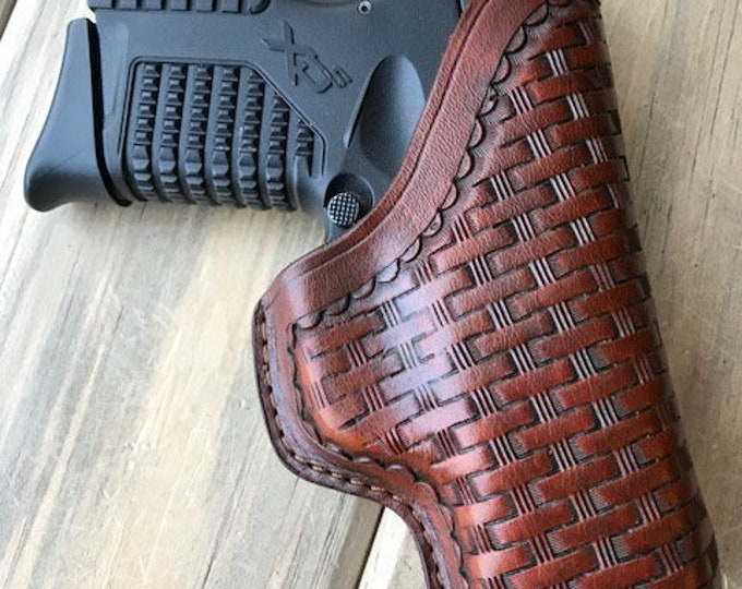 Clip Holster for Springfield XDS 3.3 (Basketweave in Deep SaddleTan)