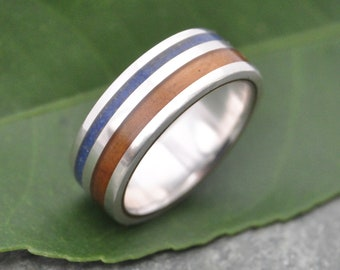 Size 5.5, 6mm READY TO SHIP Lapiz Azul and Olive Wood Ring - Rayo de Luz Azul - ecofriendly recycled sterling silver and lapis lazuli ring