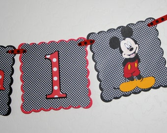 Mickey Mouse 1st  Birthday Highchair Banner - 1 Row, I AM 1,, Polka Dots, Birthday Decoration, HAPPY BIRTHDAY