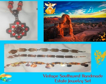 Vintage Copper Handmade Southwest Jewelry, Estate Jewelry Lot of Four Items, Three Bracelets and One Necklace, w/ Reduced Shipping