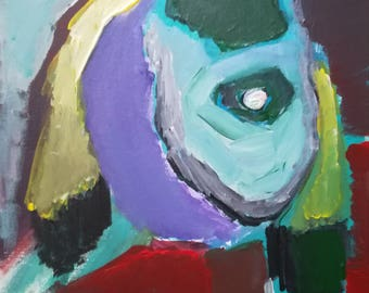 Acrylic painting, 'Abstract face', acrylic on canvas panel, wall art, original painting, face, modern art, contemporary art, abstract art