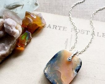 S u n s e t...Boulder opal necklace, Carnelian, boho, base chakra, Libra, Peace, October birthstone, sterling, Opal necklace FREE SHIPPING