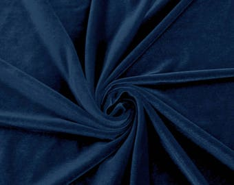 Princess ROYAL BLUE  Polyester Stretch Velvet Fabric by the Yard, Half Yard, Sample - 10001