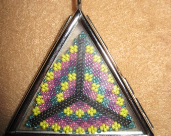 """Peyote Stitched Triangle in Silver & Glass """"Locket"""" Pendant...1 of a kind...hand made...1389h"""